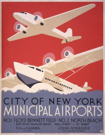 Vintage Air Poster New York City Municipal Airports, 1937.